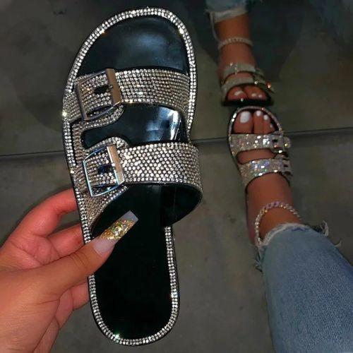Summer Luxury Women Slippers Rhinestone Flat Double Buckle Decoration Open Toe Lightcolor Fashion Sexy Ladies Shoes Female 2020
