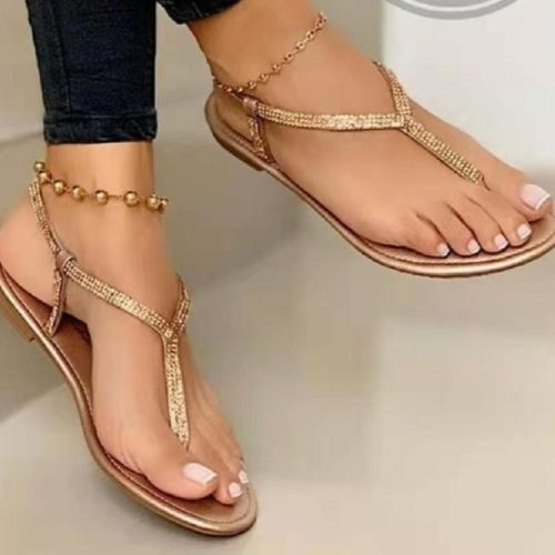 2021 Sandals Women's Crystal Casual Flip-flops Elastic Band Comfortable Beach Sandals Ladies Roman Flat Open Toe Shoes Women