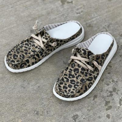 Summer Women Leopard Slippers Flat Lace-Up Canvas Ladies Fashion Solid Color Flat Sandals Outdoor Casual Comfy Female Footwear