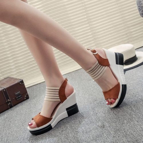 New Fashion Wedge Women Shoes Casual Belt Buckle High Heel Shoes Fish Mouth Sandals 2020 Luxury Sandal Women Buty Damskie
