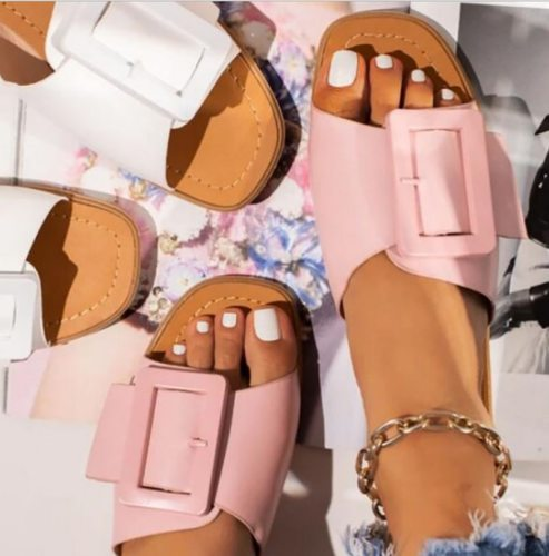 Women Slippers Woman Metal Flats Female Casual Shoes Ladies Fashion Outdoor Beach Slides 2021 Summer Women's Sandalias Plus Size