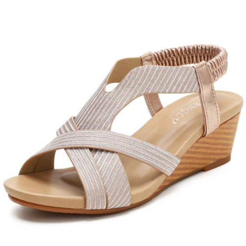Fashion Bohemian Open Toe Ladies Sandals Summer 2021 New Comfortable Holiday Sandals Travel Wedges Roman Shoes Women