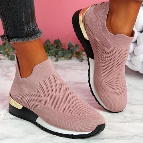 Rimocy Breathable Mesh Platform Sneakers Women Light Flat Heel Running Walking Shoes Woman White Slip on Casual Vulcanize Shoes