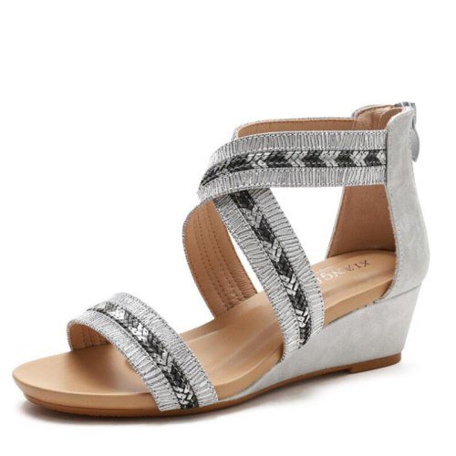 Shoes for women sandals 2021 Fashion Solid Thick Bottom Wedge Open-toed Bohemia Roman shoes Mother shoes Ankle Strap