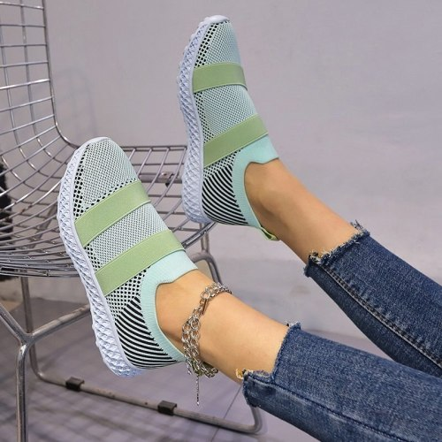 Plus Size Breathable Mesh Platform Sneakers Women Slip on Soft Ladies Casual Running Shoes Woman Knit Sock Shoes Flats