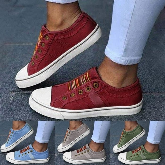 2021 Low-cut Trainers Canvas Flat Shoes Women Casual Vulcanize Walking Shoe Summer Round Toe Outdoor Elastic Band Sport Sneakers