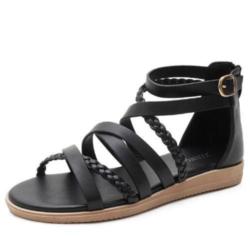 Sandals Women 2021 New Large Size Women's Shoes  Summer Woven Roman Sandals Women Cross Strap Flat Sandals Women