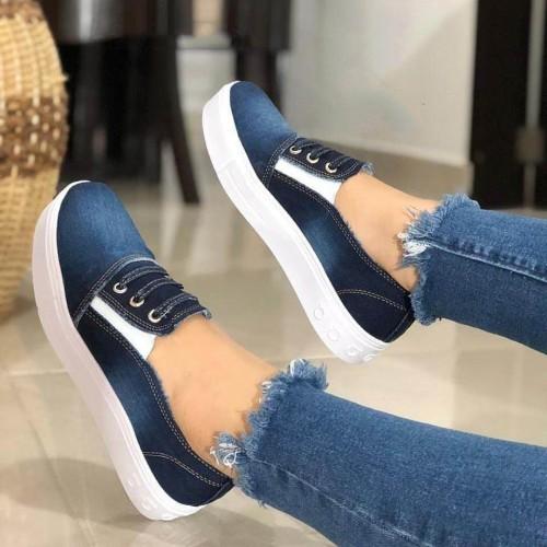 Women's Flat Shoes Fashionable Women's Casual Shoes Comfortable Denim Cnvas Shoes Lovers Casual Flat Shoes Sneakers Women