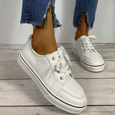 Large Size Shoes Women 2021 New Low-top Lace-up Flat Casual Loafers Round Toe Woman Fashion Gold Sneakers Sapatos De Mujer