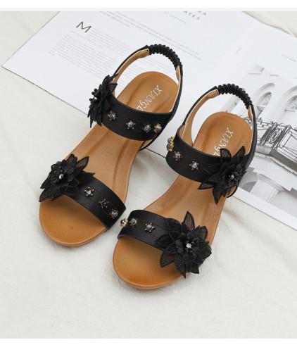 2021 wedge sandals women shoes for woman casual summer gladiator rome Flower Rhinestone pearl ladies sandles sandalias