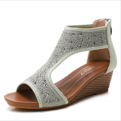 2021 Summer New Lightweight Simple Ladies Casual Fashion Platform Fairy Trend Bohemian Beach Back Zipper Wedge Sandals  XM073