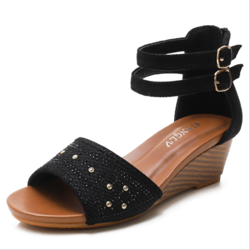 2021 Summer New Casual Fashion Lightweight Simple Lady Bohemian Back Zipper Open Toe Comfortable Ladies Wedge Sandals  XM072