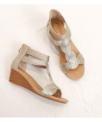 2021 Gold silver shoes women sandals wedge roman fashion summer ladies sandles party gladiator elegant female sandalias