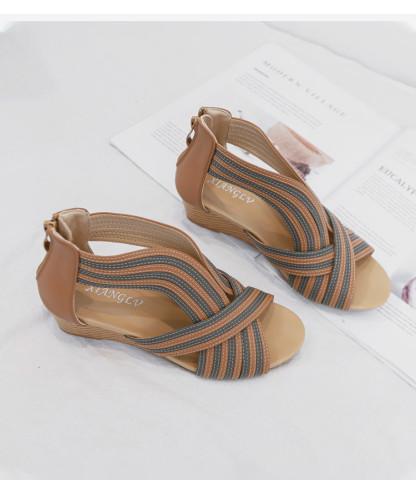 Fashion shoes women sandals wedge 2021 summer stripe roman ladies sandles party gladiator elegant female sandalias