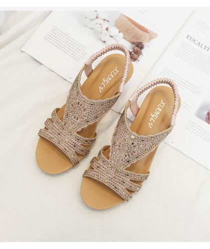 2021 summer ladies roman shoes women sandals wedge fashion rhinestones sandles party gladiator elegant female sandalias