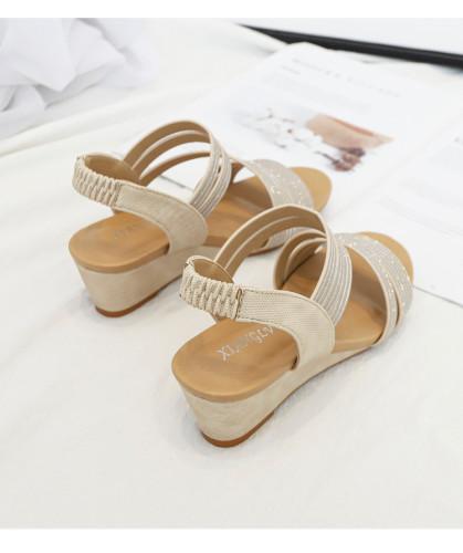 Elegant Party wedge sandals women shoes for woman casual gladiator Shiny Rhinestone summer ladies sandles sandalias Comfortable