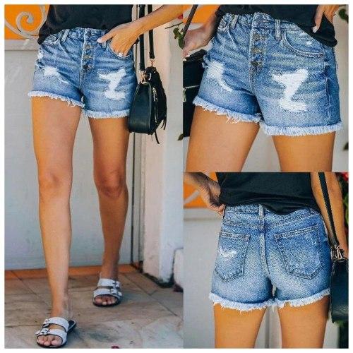Streetwear Women Summer High Waisted Denim Shorts Jeans Short Frayed Jeans Shorts Pockets Short Jeans Ladies hotpants Shorts