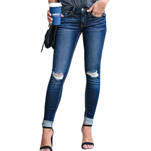 Fashion Slim Ripped Hole Denim Pencil Pants 2021 Women Casual Solid Jeans Long Pants Elegant High Waist Trousers Streetwear 3XL