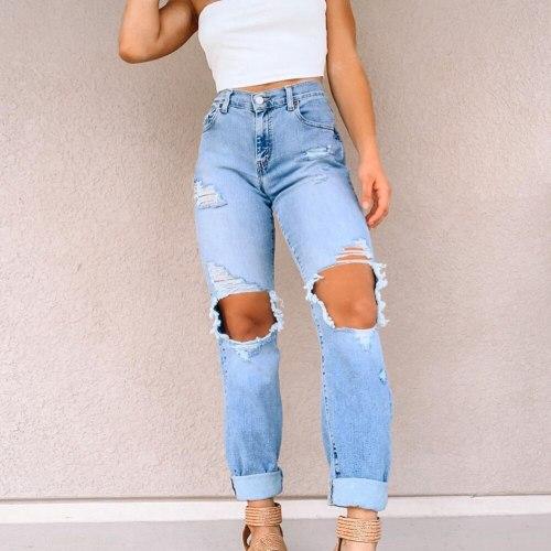 High Waist Ripped Hollow Jeans Women 2021 Big Hole Bleached Straight Denim Pants Harajuku Y2K Casual Streetwear Ladies Trousers