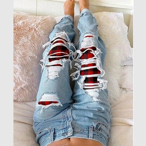 Ladies Jeans Ripped Red Plaid Ladies Jeans Trousers Ripped Jeans  Denim Joggers Women  Streetwear Women Jeans 2021
