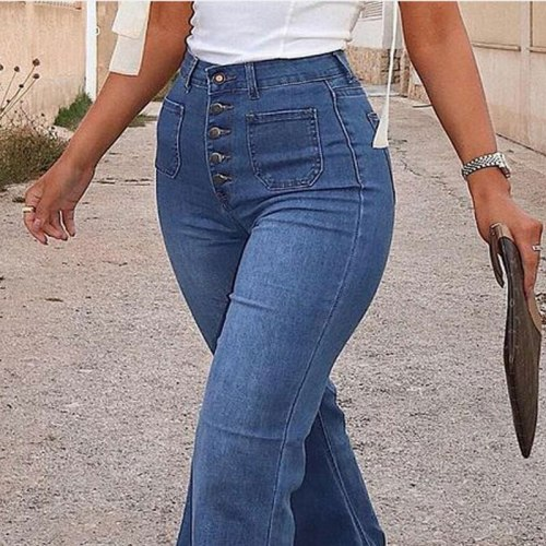 Jeans Woman High Waist Fashion Single Breasted Button Slim Jeans Casual Pocket Micro Flared Ladies Trousers Pantalones