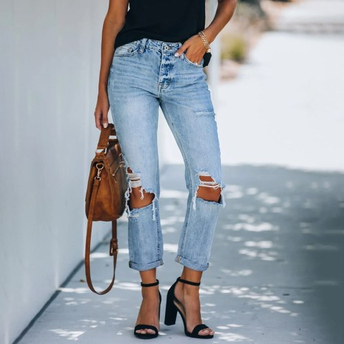 Women's pants 2021 new fashion retro women's washed high waist jeans with holes showing thin women's straight pants jeans pants