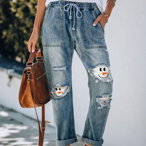 Jeans Ripped Women Plus Size Snowman Print Mid Waist Washed Full Length Spring Summer Casual Mom Jeans