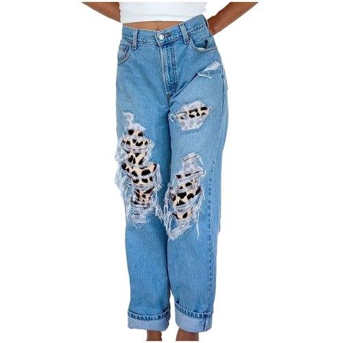 Woman Pants 2021 New Design Women Leopard Button High Waist Pocket Hole Jeans Trousers Loose Denim Pants