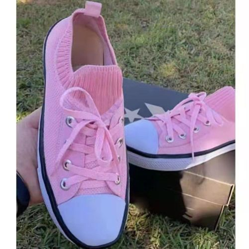 Factory wholesale spring and autumn casual soft-soled round toe knit stretch white shoes women's large size lace-up canvas shoes