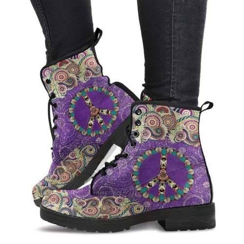 Handmade Shoes Peace Mandala Purple Vegan Shoes Womens Boots Handcrafted Shoes lace up tall Boots Fashion Shoes Women Boho Shoes