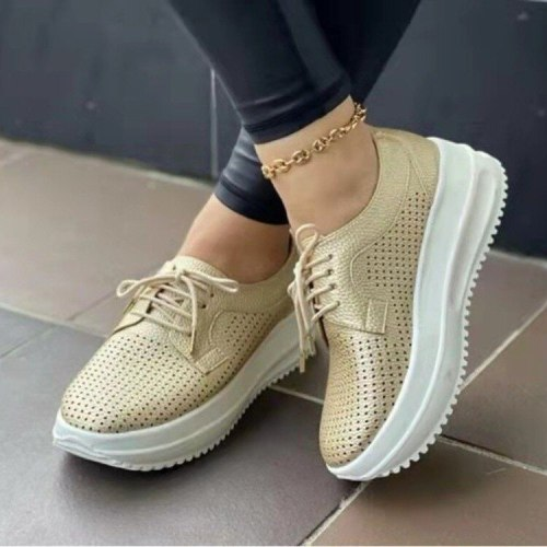 Women's Casual Vulcanized Shoes Platform Hollow Sneakers Breathable Ladies Lace up Thick Heels Solid Female Plus Size 2021