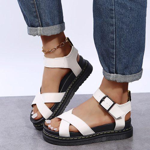 Open Toe Flatform Wedges Shoes Woman Summer Beach Sandals Sexy Women Plus Size PU Leather Sandalias Mujer Sapato Feminino