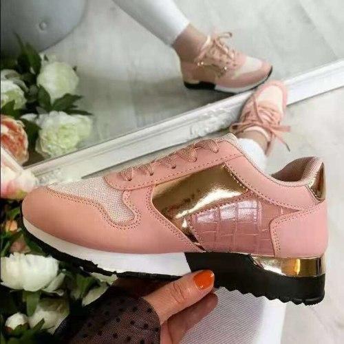 Women Sneakers 2021 Leopard Print Lace-Up Women's Vulcanize Shoes Platform Sports Ladies Sneakers Breathable Plus Women Shoes