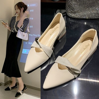 Thick-heeled shoes women's 2021 summer new mid-heel simple pointed toe versatile low-heel shallow mouth net red Mary Jane shoes