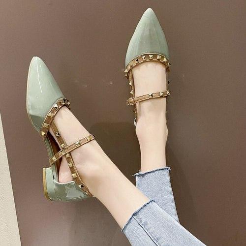 2021 Brand Women's Shoes Pointed Toe Low Heels Sandals Women Fashion Rivet Causal Dress Shoes Woman Elegant Thick Heels Shoe