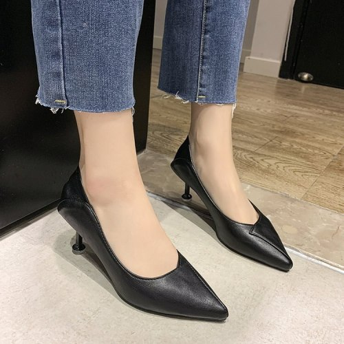 Simple stylish soft leather women's stiletto heels chunky black professional work shoes new 2021 shoe