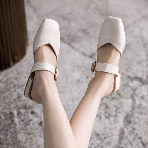 Low Shoes Basic Rubber Hoof Heels Rome PU Fabric Low Shoes Rome Rubber Hoof Heels PU Basic