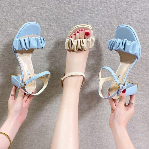 Fashion Womens Shoes 2021 Clear Heels Beige Heeled Sandals Open Toe Buckle Strap Luxury Black Peep Block Low Girls High Comfort