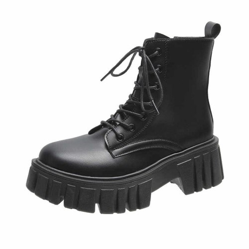 Ins Hot Motorcycle Boots 2021 Women's Fashion Leather Ankle Boots Women's Thick-soled Non-slip New Party Women's Boots
