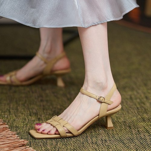 Comfort Shoes for Women Luxury Sandals Med Clear Heels 2021 Summer Open Toe Buckle Strap Suit Female Beige Fashion Medium Girls