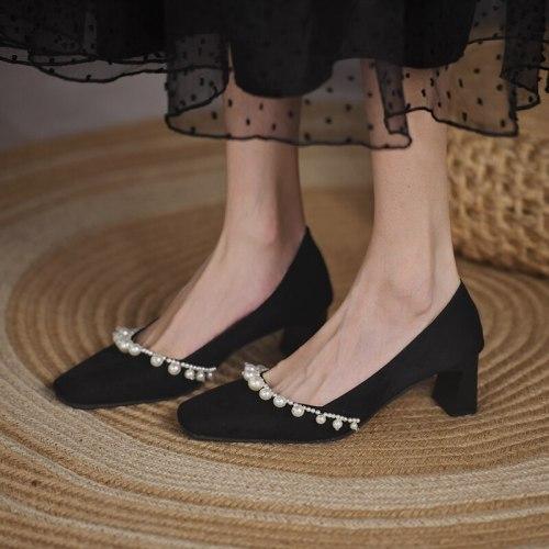 Women's Mid-heel Women's Shoes High-heeled Shoes Fashion Beaded Women's Shoes Casual Work Party Women's Shoes 2021
