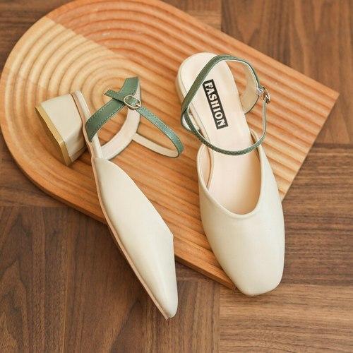 2021 Summer All-Match Buckle Strap Block Heels Spring Shoes Female Sandal Med Espadrilles Platform Chunky Comfort Girls Medium N