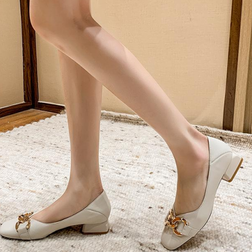 2021 Summer New Women's Pumps Fashion Round Top Low-heeled Leather Single Shoes Comfortable Women Party Casual Women's Shoes