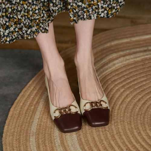 Full grain leather square toe slip on thick low heels metal fasteners vintage 2021 women European Autumn pumps