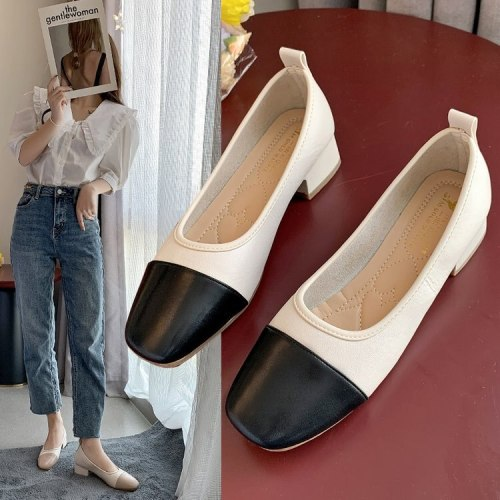 Korean Shoes Square Toe Casual Female Sneakers Shallow Mouth Women's Heels Flats Mixed Colors 2021 Summer Retro On Heels Dress