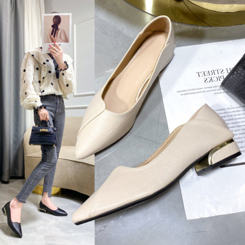 Pointed 2021 new summer low-heeled women's shoes professional two wear shallow mouth comfortable work shoes