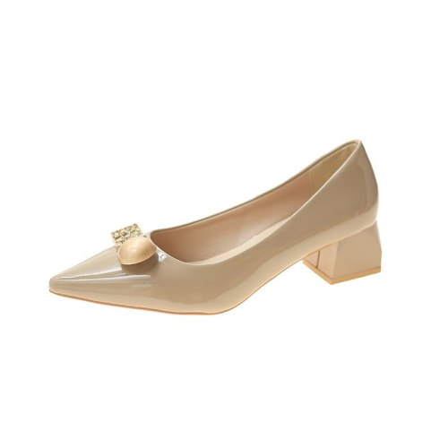Single shoes women 2021 new summer soft leather all-match thick heel pointed shallow mouth peas shoes women's shoes