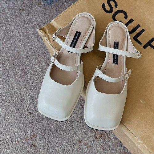 2021 Summer Elegant Beige Leather Sandals Women Fashion Square Toe Mules Shoes Mid Heels Female Slippers