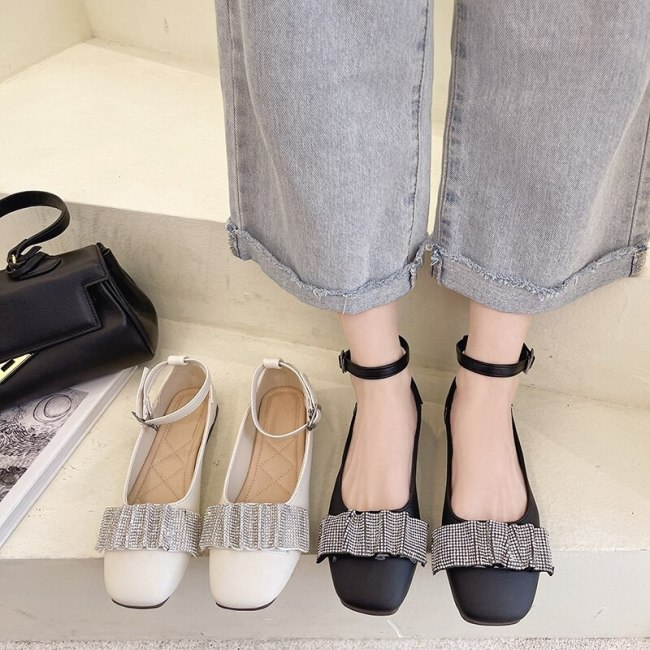 Shallow Mouth Korean Shoes Casual Female Sneakers Women's Moccasins Flats Crystal Autumn Square Toe 2021 New Dress Comfortable