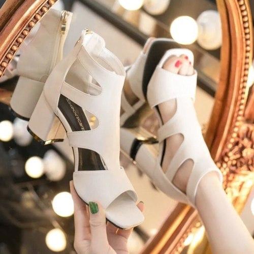 Summer New Women Sandals Women's Hollow Square Root High Heels Women Shoes Female Mujer Sapato Feminino